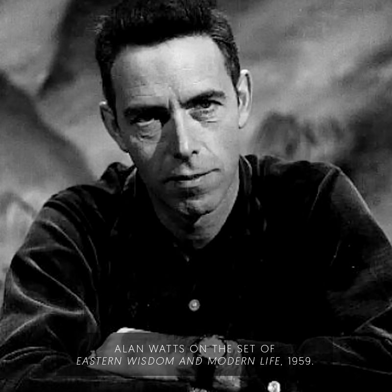 Alan Watts on the set of Eastern Wisdom and Modern Life. (1959)